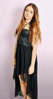 Black Halterneck Dipped Hem Dress with Studs